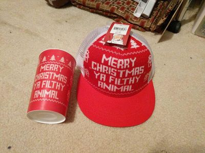 Brand new hat with matching cup
