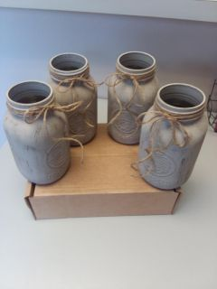 COUNTRY DOVE GRAY MASON JARS, QUART SIZE, SET OF 4