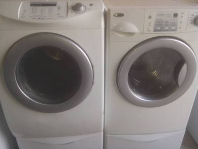 Front Load Washer Dryer Set with pedestals
