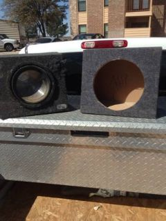2 12 inch subwoofer boxes 1 of which has a subwoofer in it