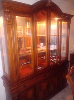 Beautiful solid wood china cabinet and dining room table