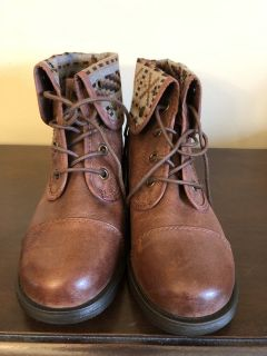 Brown Lace Up Boots with Plaid Size 10M