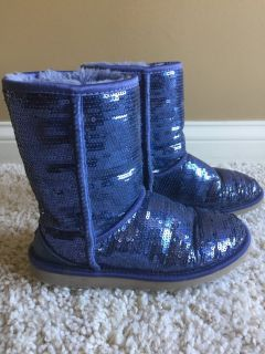 Womens UGG Australia Short Sparkle Sequin Winter Boot Size 7