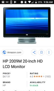 "20"" Hp LCD monitor. Like new condition of"