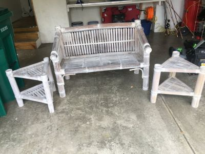 wicker/bamboo loveseat and end tables