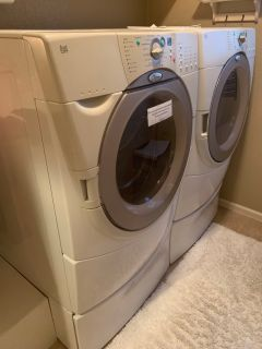 Whirlpool Duet HE Front Loading Washer and Dryer with Pedestals