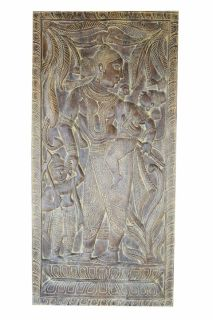 ANNUAL CLEARANCE SALE!!Vintage Handcarved Mother Yasoda Talking to Krishna Wall Sculpture
