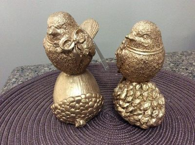 Brand new! Set of two gold bird (one missing slight wing tip)