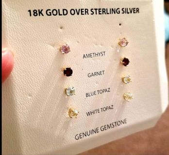 18k Gold over sterling silver with genuine gemstones. No box. Retail price for $100