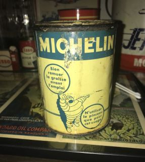Rare Typhus Michelin Waving Bibendum Grease Can