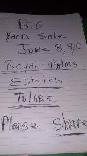 Yard sale June 8th 9th and 10th