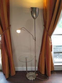 Tall lamp with glass table and adjustable reading lamp