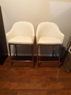 Sunpan leather and metal barstools