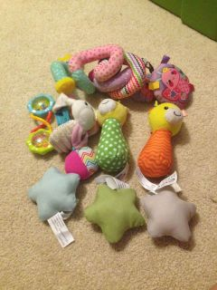 Baby rattles and Velcro stars for mobile