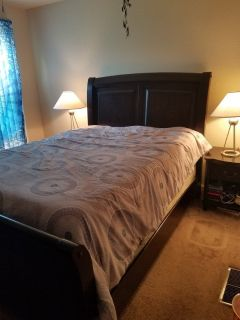 Queen bed set, night stands, lamps, box springs and mattress