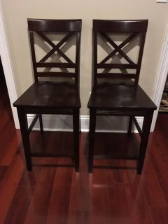 New Solid Wood Counter Height Bar Stools with Mahogany Finish