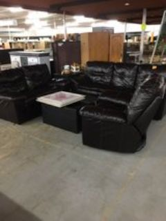 Leather Couch, Love Seat, Recliner and Ottoman