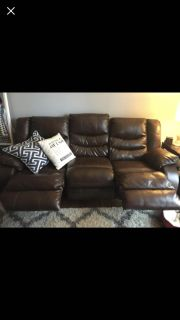 Heavy duty chocolate leather couch
