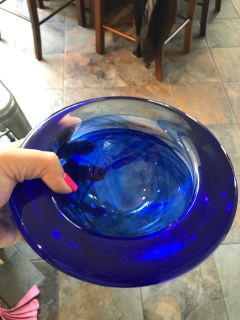Kosta Boda cobalt glass bowl vintage decor
