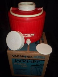 Vintage Vagabond Thermos Red Picnic Jug ORIGINAL Box- Goin' Glamping?