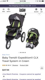 Baby trend car seat, jogging stroller and base $100