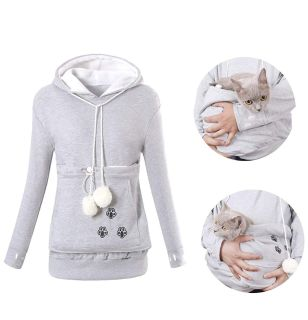 Lg gray hoodie with pocket for kitty