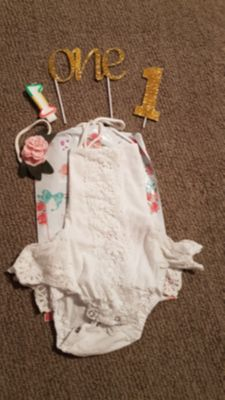First birthday outfit with headband and cake toppers
