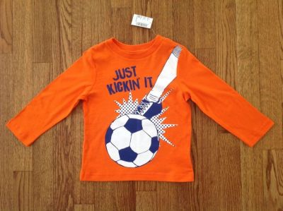 New with Tags the Children's Place Toddler Boys Long Sleeve Soccer Ball Graphic Tee, size 2T