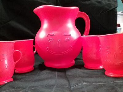 Vintage Kool-Aid pitcher and cups