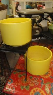 mcm gainey yellow pair of pottery planters large rare