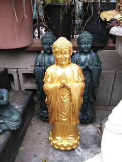 Tall Standing Praying Gold Buddha Statue