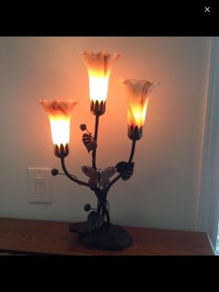 Antique/Vintage Very Unique Wrought Iron With Glass Tulips Butterfly Bells & Leaves Lamp SF&PF CLEAN Home