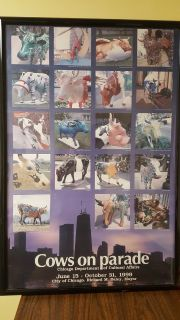 """Chicago 1999 Cows on Parade Commemorative Poster"" - Framed"