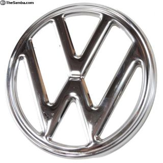 Emblem, Front VW Stainless Steel, Fits Bus '73-'79