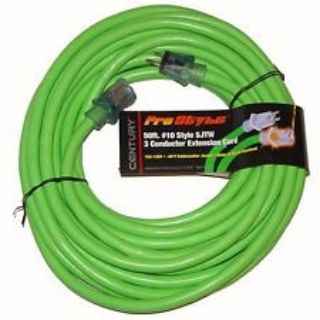 NEW century pro power 50 ft heavy duty neon green lighted electric extension cord
