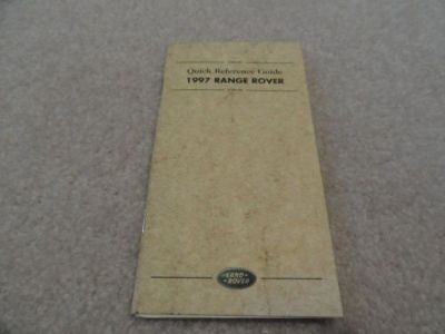 Find 1997 Land Rover Range Rover Quick Reference Guide Owners Manual Supplement motorcycle in Logan, Utah, United States