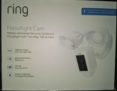 New Ring Floodlight Camera Motion-Activated 1080HD Security Cam Two-Way Talk and Siren Alarm, White