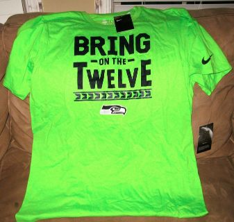"""SEATTLE SEAHAWKS - Neon Nike Team Apparel """"BRING ON THE 12"""" T-Shirt (Men's Large) *** NEW"""