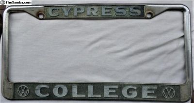 College VW Cypress, Ca license plate frame