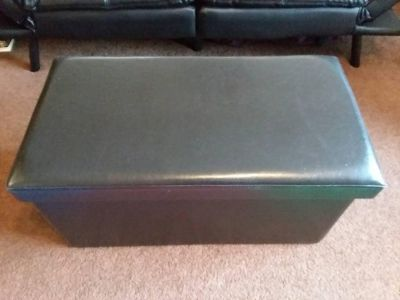 Faux-Leather Ottoman w/ Cushioned Lid
