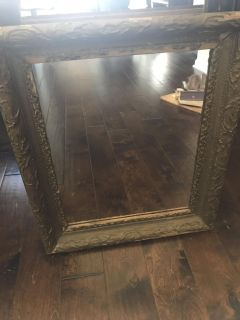 Antique mirror with wood frame 25.5 x 21.5