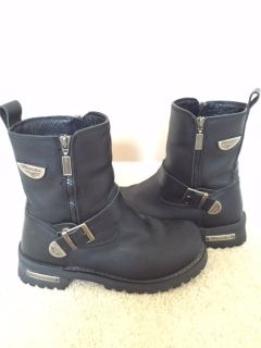Milwaukee Motorcycle Black Leather Riding Boots Size 8
