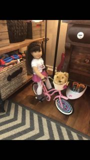 American girl doll Grace with bicycle.