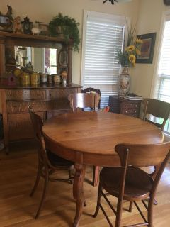 All wood farm table and 4 chairs