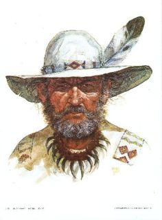 """Mountain Man"" Litho - Artist Ron Raymer - 1979 - Signed - Unframed"