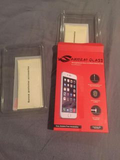(2) NEW!! Samurai Strengthened Glass Cell Phone Screen Protector - iPhone 6 or 7