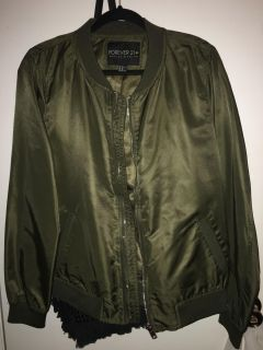Navy Green Plus Size Bomber Jacket