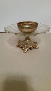 Lead and glass candle holder