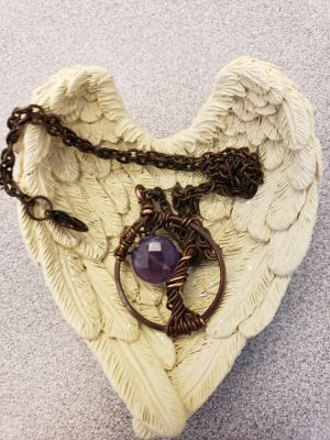 Tree of life necklace amethyst atone hand made wire wrap tree.from etsy. 18 inch