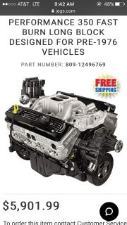CHEVROLET 350 GM PERFORMANCE PARTS CRATE ENGINE 385 HP NEW
